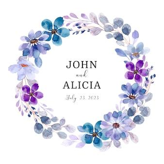 수채화와 부드러운 보라색 꽃 화환