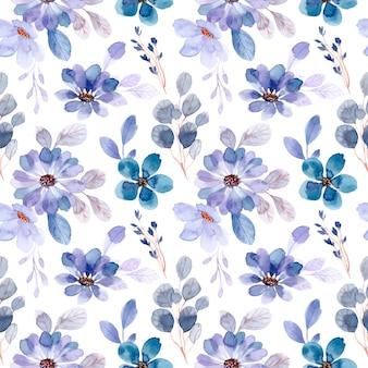 Soft purple flower watercolor seamless pattern