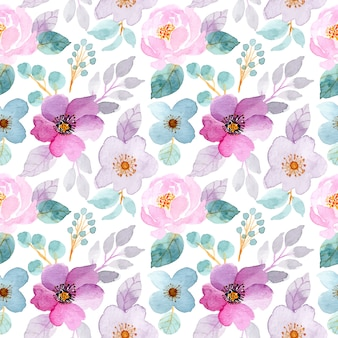 Soft purple and green watercolor floral seamless pattern