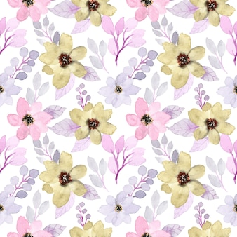 Soft purple seamless pattern with floral watercolor