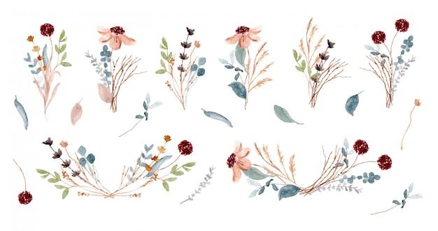 Soft rustic floral arrangement watercolor collection