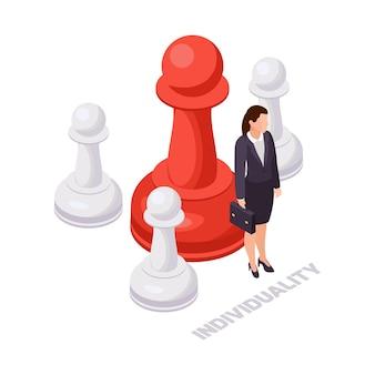 Icona isometrica del concetto di soft skills con donna d'affari grande rosso e tre piccoli pezzi degli scacchi bianchi 3d