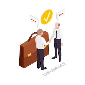 Soft skills diplomacy concept icon with briefcase and two characters shaking hands 3d