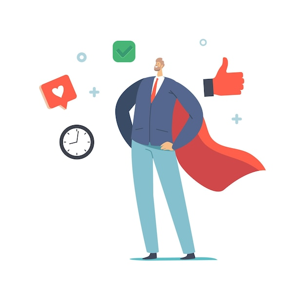 비즈니스 개념의 소프트 기술. 슈퍼 히어로 망토를 입은 성공적인 매니저나 사업가 캐릭터는 아킴보를 들고 서 있습니다. 회사 직원 리더십, 슈퍼 히어로. 만화 벡터 일러스트 레이 션