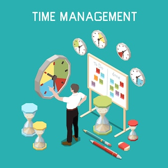 Soft skills isometric composition with time management concept and man at the work