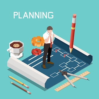 Soft skills isometric concept with planning headline and engineer in the working process