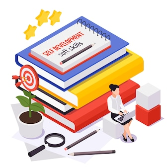 Soft skills isometric symbolic composition with woman employee improving personal development to achieve business goals