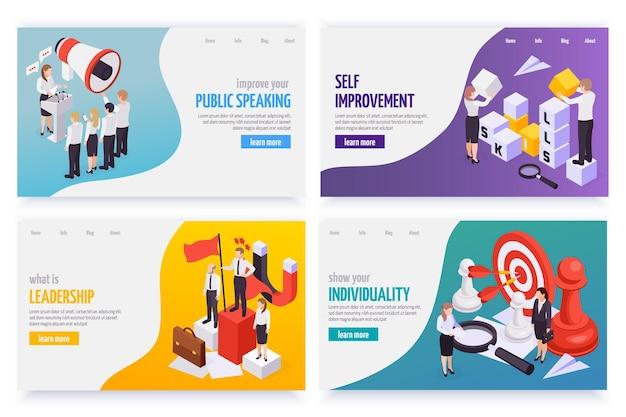Изометрические веб-баннеры soft skills с изображением лидерства в публичных выступлениях, индивидуального самосовершенствования