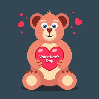 Soft teddy bear with a heart in its paws banner for valentines day