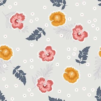 부드러운 벡터 원활한 패턴입니다. 식물 꽃.