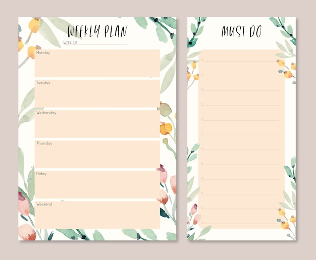 Soft warm watercolor leaves weekly plan and to do list