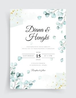 Soft watercolor eucalyptus wedding invitation template