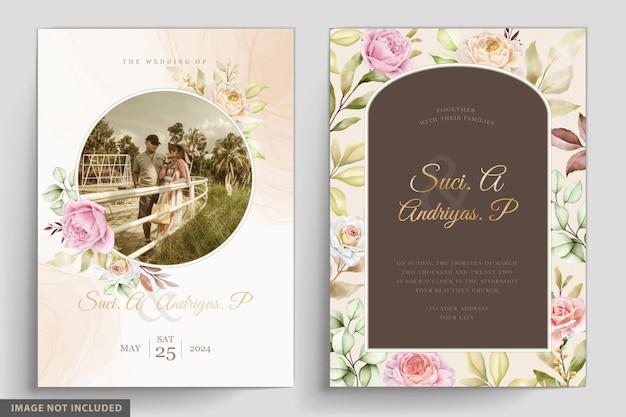 부드러운 수채화 꽃과 잎 초대장