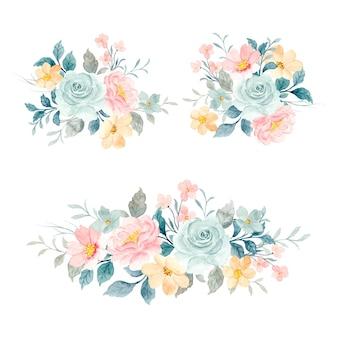부드러운 수채화 꽃 꽃다발 컬렉션