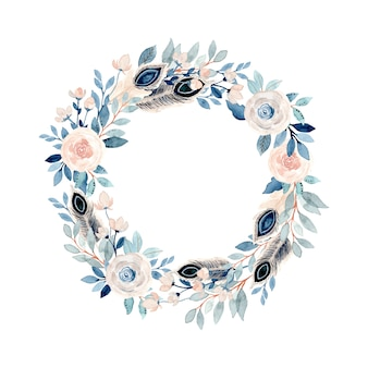 Soft watercolor floral and feather wreath