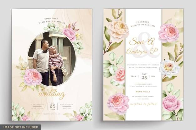 Soft watercolor floral and leaves invitation card