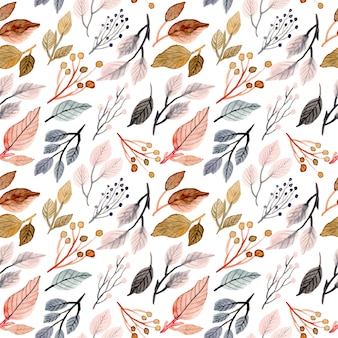Soft watercolor leaves seamless pattern