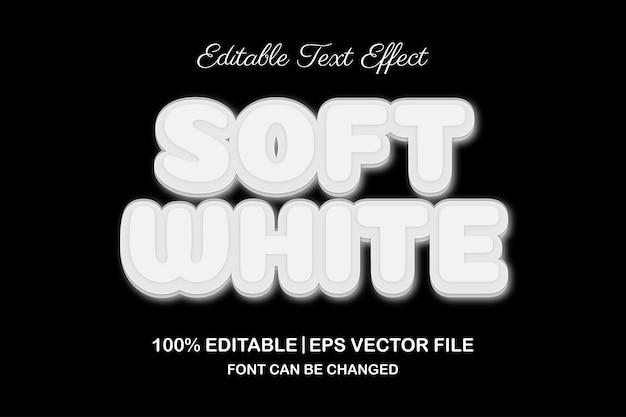 부드러운 흰색 3d 편집 가능한 텍스트 효과