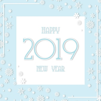 Soft white and blue happy new year 2019 background with snowflakes