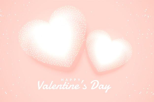 분홍색 배경에 부드러운 하얀 발렌타인 하트