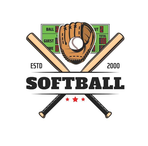 Значок софтбольного спорта, значок команды бейсбольного клуба и векторная эмблема игры лиги. оборудование для софтбола или бейсбола, перчатки, мяч и биты для спортивного чемпионата или университетского турнира