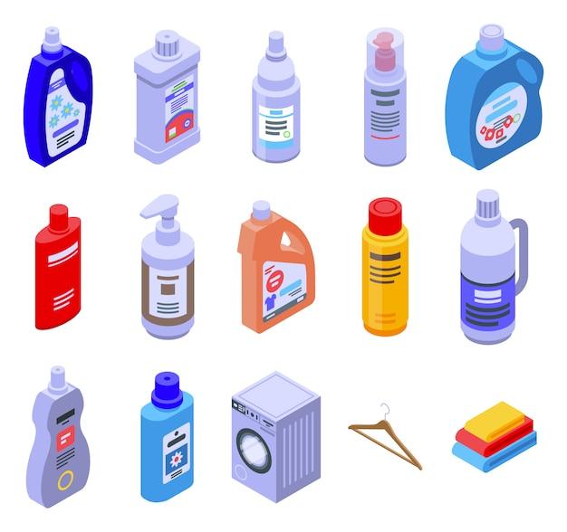 軟化剤のアイコンセット、アイソメ図スタイル