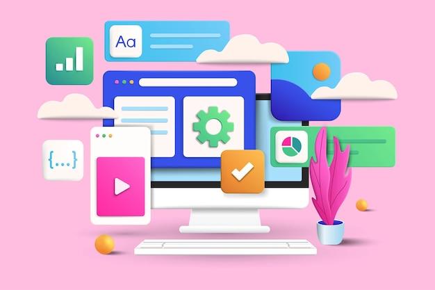 Концепция программного обеспечения и веб-разработки на розовом фоне