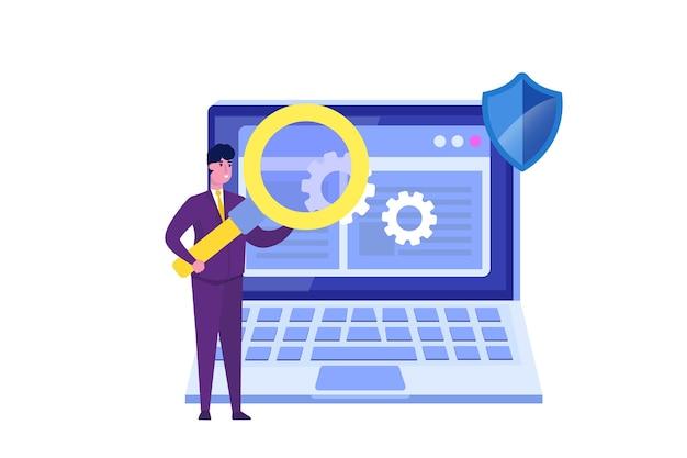 Software or application flat  concept.  debugging development process.