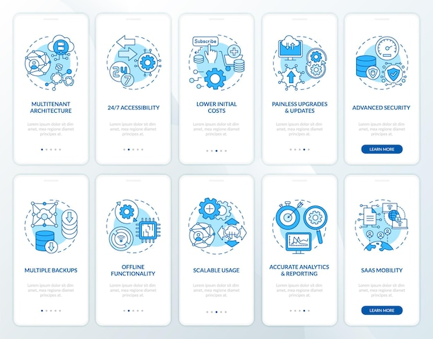 개념이 설정된 모바일 앱 페이지 화면을 온 보딩하는 software-as-service 이점. 업데이트, 기능 연습 단계 그래픽 지침. rgb 색상 삽화가있는 ui 템플릿