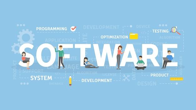소프트웨어 개념 그림. 기술과 장치에 대한 아이디어.