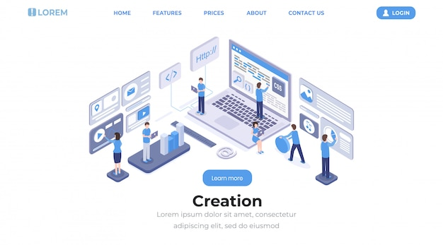 Software creation landing page isometric template