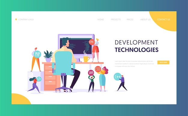 Software developer character technology landing page.