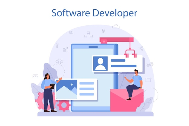Software developer concept. idea of programming and coding, system development. digital technology. software developing company writing code. isolated vector illustration