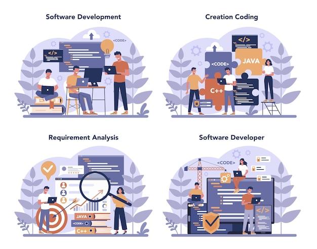 ソフトウェア開発者の概念セット。プログラミングとコーディング、システム開発のアイデア。デジタル技術。コードを書くソフトウェア開発会社。孤立したベクトル図