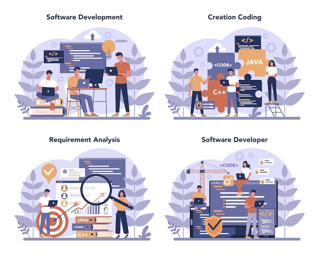 Software developer concept set. idea of programming and coding, system development. digital technology. software developing company writing code. isolated vector illustration