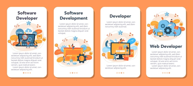 Software developer mobile application banner set. idea of programming and coding, system development. digital technology. software developing company writing code.