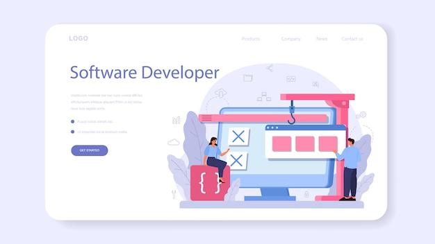 Software developer web banner or landing page