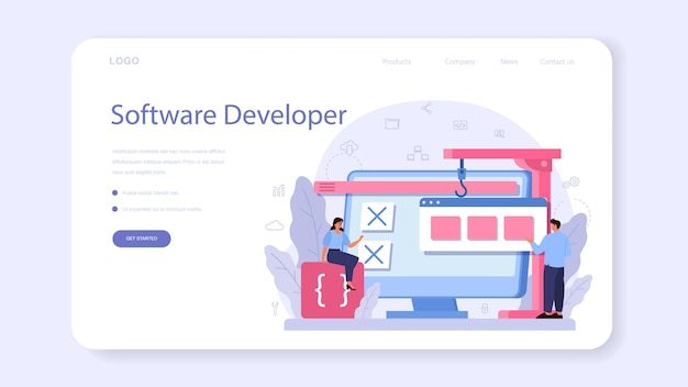 소프트웨어 개발자 웹 배너 또는 방문 페이지
