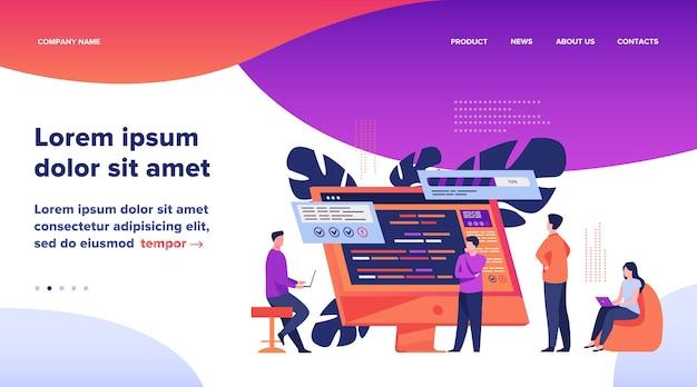 スクリプトを使用してコンピューター上でコーディングするソフトウェア開発者。コーディング、エンジニアリング、インターフェイスデザインフラットベクトルイラスト。プログラミングコンセプトのウェブサイトのデザインまたはランディングウェブページ