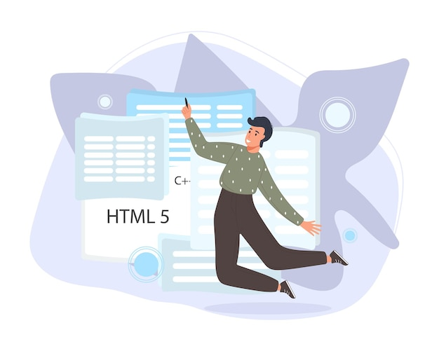 Software developers working of script coding. engineer character programming in php, python, javascript, other languages
