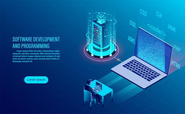 ソフトウェア開発とコーディング。コンセプトのプログラミング。情報処理。ウィンドウインターフェイスを備えたコンピューターコード。