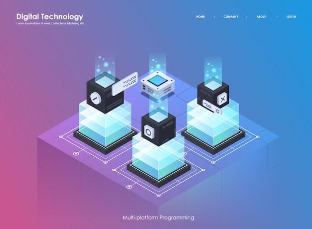 ソフトウェア開発およびプログラミング。創造的なプログラムまたはシステムプロセスのコーディング。平らな等角投影図。