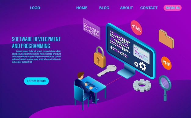 Software development and coding. programming landing page