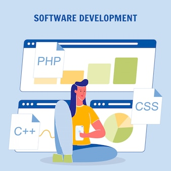 Software development color vector poster with text
