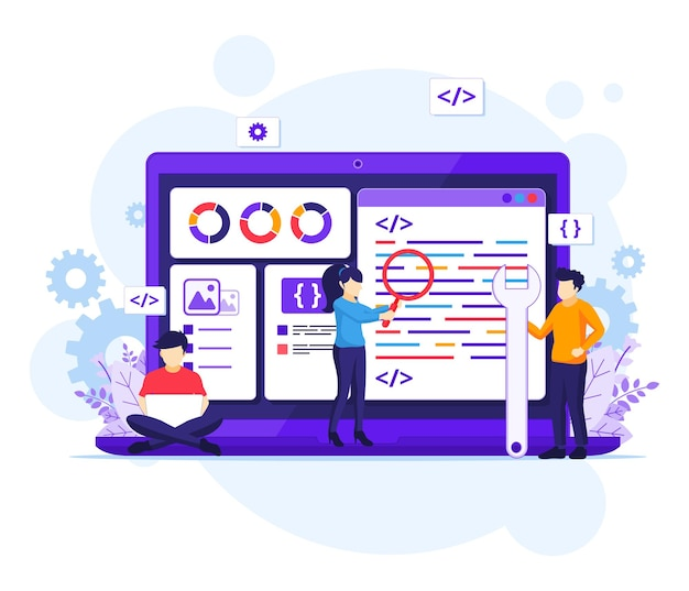 Software development concept, people work on a giant laptop programming and coding flat illustration