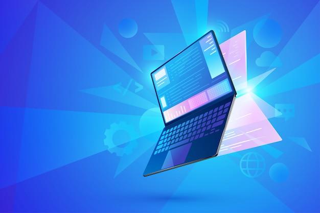 Концепция разработки программного обеспечения, пользовательский интерфейс ноутбук с виртуальными интерактивными экранами, дизайн веб-интерфейса, кодирование программного обеспечения и языки программирования
