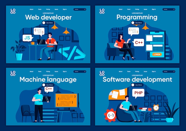 ソフトウェア開発のフラットランディングページセット。 webサイトまたはcms webページのオフィスシーンで作業するフロントエンドおよびバックエンドの開発者。 web開発、プログラミング、機械語のイラスト
