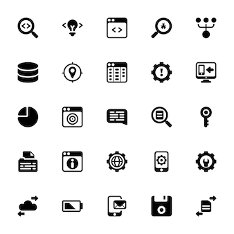 Software development glyph icons