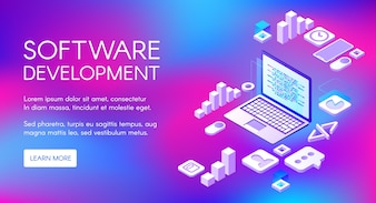 Software development illustration of digital programming technology for computer