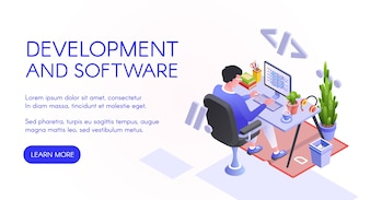 Software development illustration of web developer or programmer at computer.